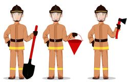 Firefighter in professional uniform and safe helmet. Set. Fireman cartoon character holds shovel, holds bucket and holds axe. Vector illustration on white Royalty Free Stock Photography