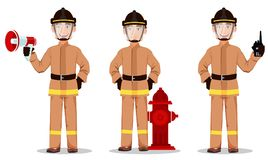 Firefighter in professional uniform and safe helmet. Set. Fireman cartoon character holds loudspeaker, stands near hydrant and holds portable radio. Vector Stock Photography