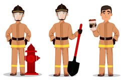Firefighter in professional uniform and safe helmet. Set. Fireman cartoon character holds shovel, holds coffee and stands near hydrant. Vector illustration on Royalty Free Stock Photo