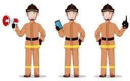 Firefighter in professional uniform and safe helmet. Set. Fireman cartoon character holds loudspeaker, holds smartphone and holds portable radio. Vector Stock Photography