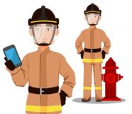 Firefighter in professional uniform and safe helmet. Fireman cartoon character stands near hydrant and holds smartphone. Vector illustration on white Royalty Free Stock Images