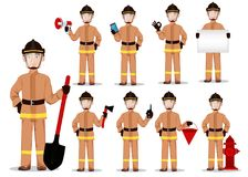 Firefighter in professional uniform and safe helmet, set. Fireman cartoon character. Vector illustration on white background Stock Images