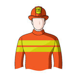 Firefighter.Professions single icon in cartoon style vector symbol stock illustration web. Royalty Free Stock Images