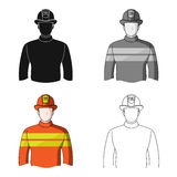 Firefighter.Professions single icon in cartoon style vector symbol stock illustration web. Firefighter.Professions single icon in cartoon style vector symbol Stock Photography