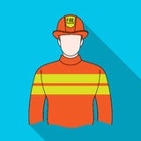 Firefighter.Professions single icon in flat style vector symbol stock illustration web. Stock Image