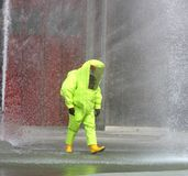 Firefighter protective work suit with for protection from radiat Stock Photo