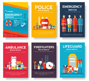 Firefighter, rafting, police, medicine rescue cards template set. Flat design icon of flyear, magazines, posters, book. Cover, banner. Emergency services layout Royalty Free Stock Images