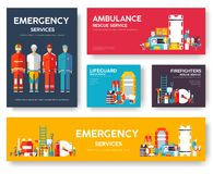 Firefighter, rafting, police, medicine rescue cards template set. Flat design icon of flyear, magazines, posters, book. Cover, banner. Emergency services layout Stock Image
