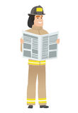 Firefighter reading newspaper vector illustration Royalty Free Stock Image