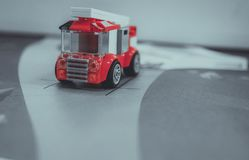 Firefighter red car game stock photography