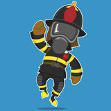Firefighter rejoices. Vector illustration. Hero Royalty Free Stock Image