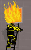 Firefighter rescue boy burning. Vector illustration of a Firefighter saving or rescuing a boy from a burning building Stock Photos