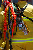 Firefighter and rescue equipment. Firefighter the rescue equipment on shoulder Stock Photos