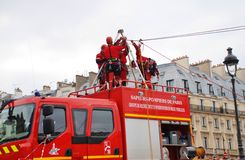 Firefighter rescue training, Paris Stock Image