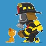 Firefighter rescues kitten. Vector illustration Vector Illustration