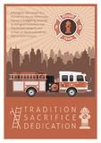 Firefighter Retro Poster. Firefighter poster in retro style printed in brown with title or slogan tradition sacrifice dedication vector illustration Royalty Free Stock Images