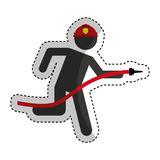 Firefighter running isolated icon. Illustration design Stock Photo