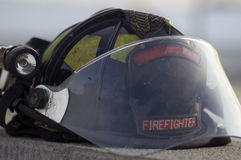 Firefighter's helmet. A close-up of a firefighter's helmet stock photo
