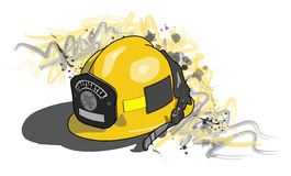 Firefighter's helmet. Vector drawing of a yellow firefighter;s helmet Royalty Free Stock Photos