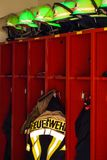 Firefighter's jacket and helmets for use. Firefighter jacket and helmets for use Royalty Free Stock Images