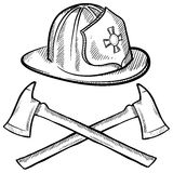 Firefighter's objects sketch. Doodle style firefighter's helmet and axes in vector format Royalty Free Stock Image