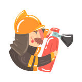 Firefighter in safety helmet and protective suit holding fire extinguisher cartoon character vector Illustration. Firefighter in safety helmet and protective Royalty Free Stock Photo