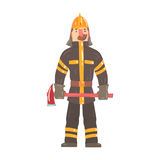 Firefighter in safety helmet and protective suit standing with axe cartoon character vector IllustrationИнтернета Royalty Free Stock Image