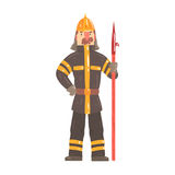 Firefighter in safety helmet and protective suit standing with scrap tool cartoon character vector Illustration. Isolated on a white background Stock Photo