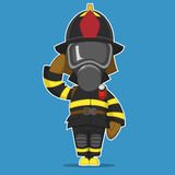 Firefighter salutes. Vector illustration. Hero Royalty Free Stock Photography