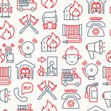 Firefighter seamless pattern with thin line icons. Fire, extinguisher, axes, hose, hydrant. Modern vector illustration for banner, web page, print media Stock Photo