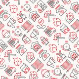 Firefighter seamless pattern with thin line icons. Fire, extinguisher, axes, hose, hydrant. Modern vector illustration for banner, web page, print media Stock Image