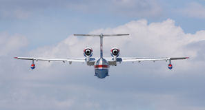 Firefighter seaplane BE-200ES in flight Stock Image