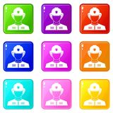 Firefighter set 9. Firefighter icons of 9 color set isolated vector illustration Stock Image