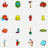 Firefighter set icons. In hand drawn style on transparent background Royalty Free Stock Photo