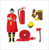 Firefighter set isolated emergency items on white. Firefighter set. Isolated emergency items on white background Stock Photos