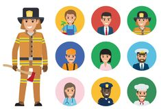 Firefighter and Set of People of Different Jobs. Firefighter in protective clothing with axe and round icons of representatives of most common professions vector Stock Image