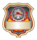 Firefighter Shield. Illustration of a firefighter or fire department shield with firefighter tools logo Royalty Free Stock Image