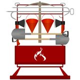 Firefighter shield. With fire extinguishing tools. Illustration on white background Royalty Free Stock Image