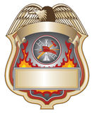 Firefighter Shield II. Illustration of a firefighter or fire department shield with firefighter tools logo Royalty Free Stock Photography