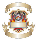 Firefighter Shield III. Illustration of a firefighter or fire department shield with firefighter tools logo Royalty Free Stock Photo