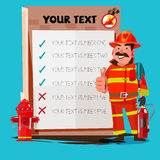 Firefighter Shouting Into Megaphone with presentation board - ve Stock Photo