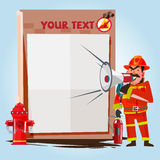 Firefighter showing thumbs up with presentation board. safety co Stock Photography