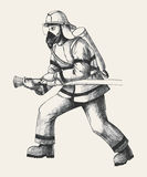Firefighter. Sketch illustration of a firefighter Stock Photos
