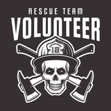 Firefighter skull in helmet with text volunteer. Firefighter skull in helmet with inscription volunteer rescue team vector emblem, label or t-shirt print Royalty Free Stock Photos