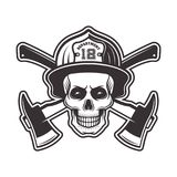 Firefighter skull in helmet vector illustration. Firefighter skull in helmet and two crossed axes vector illustration in monochrome style isolated on white Stock Image