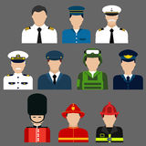Firefighter, soldier, pilot and captains avatars. Flat icons of professions avatars of firefighter, soldier, pilot , security and ship captain with men in Royalty Free Stock Photography