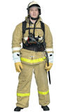 Firefighter in a special outer protective clothing Royalty Free Stock Image