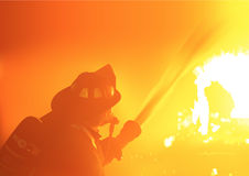 Firefighter Spray Water. To Wildfire - Detailed Illustration, Vector Royalty Free Stock Image