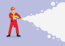 Firefighter Spraying Firefighting Foam Vector Cartoon Illustrati. Fireman in red uniform and helmet spraying foam from a fire extinguisher. Vector cartoon Stock Photos