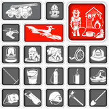 Firefighter squared icons. Collection of different firefighter squared icons Royalty Free Stock Photography